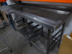 * L shaped right hand feed table fore pass through dishwasher. With up stand, under shelf and tray