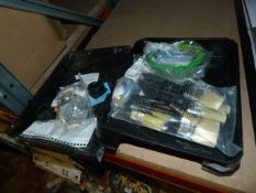 *Two Paint Trays, Quantity of Paint Brushes and a