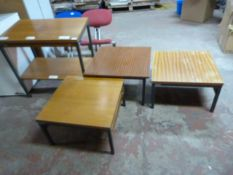 *Three Low Metal Framed Square Office Tables and a Trolley