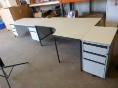 *Two White Office Desks and a Small Three Drawer Fi