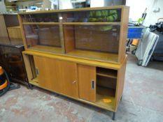 *Veneered Chipboard Cupboard with Glazed Bookshelf Top ~150cm long