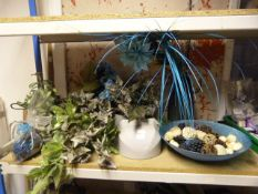 *Quantity of Artificial Plants, Glass Vase and Bowl