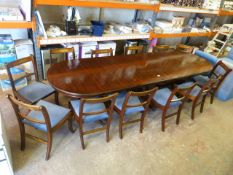 *10.5ft Dining/Boardroom Table with 12 Upholstered Chairs Inlaid with Brass