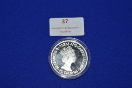 Turks & Caicos 20 Crowns Sterling Silver Commemorative Ascension Coin