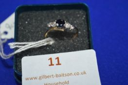 9k Gold Ring with CZ and Black Stone ~1g gross, Size: L
