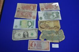 Vintage Bank Notes; Bank of England 10 Shillings, £1, US Dollars, etc.