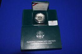 United States Community Service $1 Commemorative Silver Coin