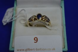 9k Gold Ring with Diamonds ~2g gross, Size: L