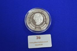 Turks & Caicos Islands Royal Wedding Anniversary 1991 Solid Sterling Silver Coin
