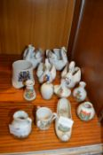 Crested Ware; Swans, Vases, etc.