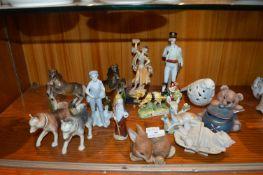 Ornamental Pottery Animals; Bears, Horses, etc.