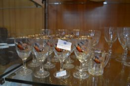 Vintage Pheasant Design Wine Glasses