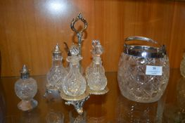 Plated Cut Glass Crystal Cruet Set and Biscuit Bar