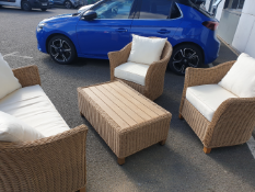 * 4 Piece Rattan Set. Used. 1 x 2seater sofa, 2 x chairs, 1 coffee table. With covers - Collection A