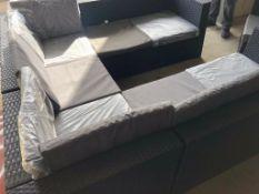 * U' Shapped Rattan sofa set. Black wicker. Grey Cushion. 2 Tables, 1 chair. - Collection Address Wa