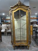 *Reproduction Gilt Rococo Style Cabinet with Three Glass Shelves
