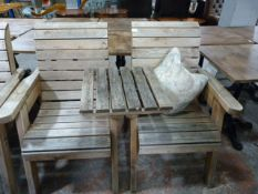 *Pair of Pine Garden Seats with Removeable Table Insert