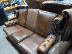 *Brown Chesterfield Three Seat Sofa