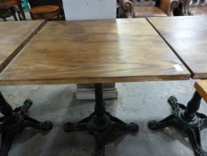 *Wooden Topped Square Table on Single Pedestal Cast Ion Base ~65x65x73cm