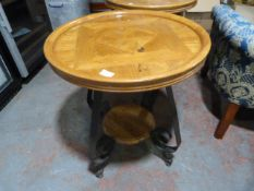 *Metal Framed Two Tier Wooden Side Table ~60x65cm