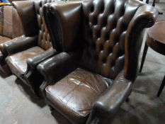 *Pair of Brown Chesterfield Wingback Armchairs