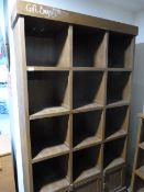 *Painted Reclaimed Pine Cubby Hole Unit with Three Small Cupboards ~120x200x38cm