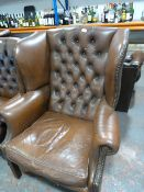 *Brown Chesterfield Wingback Armchair