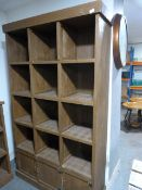 *Painted Reclaimed Pine Cubby Holes with Three Small Cupboards ~116x200x38cm