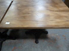 *Wooden Topped Square Table on Single Pedestal Cast Ion Base ~85x85x73cm