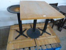 *Three Wooden Topped Single Pedestal Cafe Tables ~65x80x76cm
