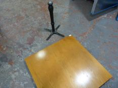 *Wooden Topped Square Table and a Single Pedestal Cast Ion Base (parts missing)