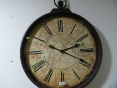 *Antique Style Wall Clock in the Shape of a Pocket Watch ~58cm wide