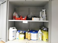 *Steel store with various cleaners solvents