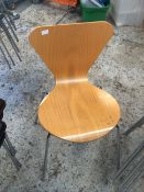 * 6 x wooden stackable chairs with chrome legs