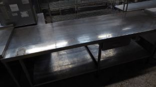 * long S/S prep bench with under shelf and drawer. 2500w x 790d x 860h
