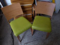 * 10 x wooden chairs with lime green upholstered seat