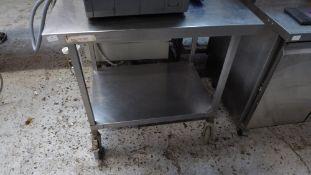 * S/S prep bench on castors with under shelf 900w x 600d x 870h