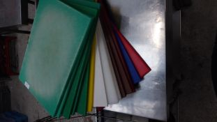 * selection of coloured chopping boards x 14