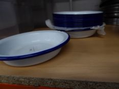 * 10 x blue and white enamel pie dishes