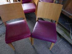 * 10 x wooden chairs with pink/purple upholstered seat