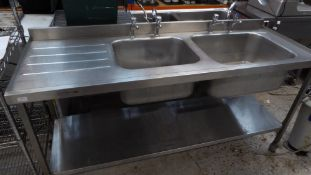* S/S double sink with left hand drainer - complete with under shelf and taps. 1800w x 660d x 900h