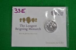 Royal Mint 2015 UK £20 Longest Reigning Monarch Fine Silver Coin