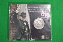 Royal Mint 2015 UK £5 Winston Churchill Fine Silver Coin