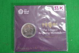 Royal Mint 2015 UK £5 Longest Reigning Monarch Fine Silver Coin