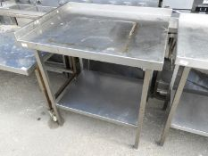 *Stainless Steel Preparation Table with Upstand to Rear and Left, and Undershelf 90x70cm