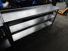 *Stainless Steel Preparation Table with Upstand to Rear over Three Shelves