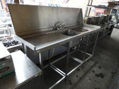 *Stainless Steel High Level Sink Unit with Splashback 210x70cm