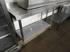 *Vogue Stainless Steel Preparation Table with Undershelf and Upstand to Rear 120x60cm