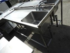 *Custom Made Stainless Steel Sink Unit with Left Hand Drainer 158x55cm