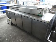 *Stainless Steel Refrigerated Preparation Counter over Four Cupboards